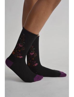 Chaussettes Cronert à fleurs bord roulé
