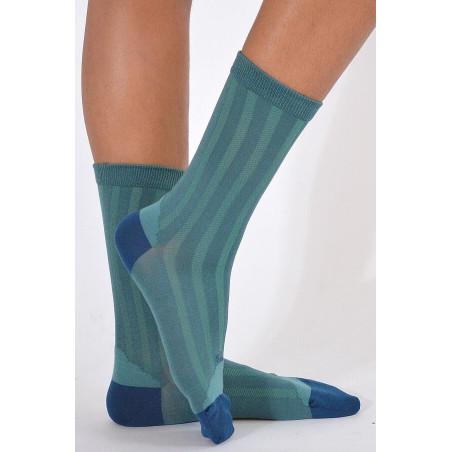 Chaussettes Berthe aux grands pieds soie ciel