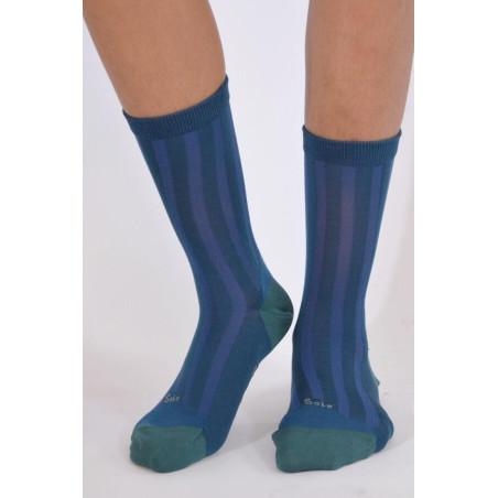 Chaussettes Berthe aux grands pieds soie bleu