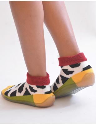 Chausson Berthe aux grands pieds vache chaussettes à semelles anti dérapantes