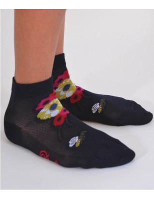 Socquettes Berthe auxgrands pieds Abeilles et fleurs marine