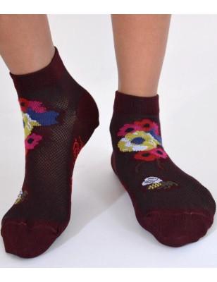 Socquettes Berthe auxgrands pieds Abeilles et fleurs Bordeau