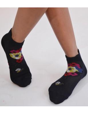Socquettes Berthe auxgrands pieds Abeilles et fleurs noires