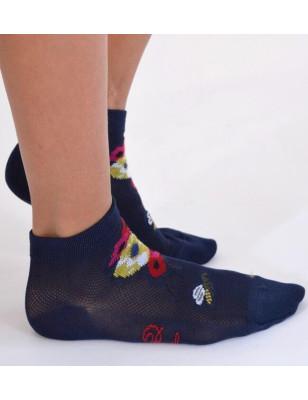 socquettes Berthe auxgrands pieds Abeilles et fleurs jeans