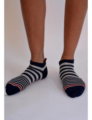 Socquette Berthe aux grands pieds fil d'ecosse rayures