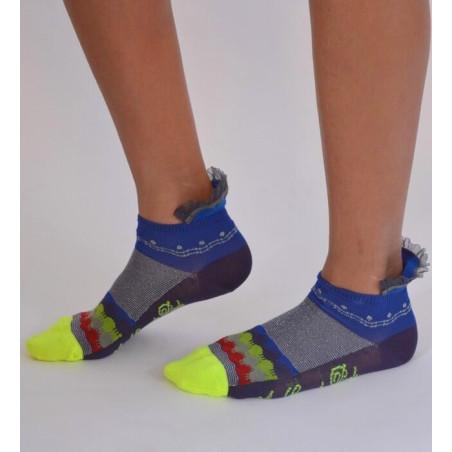 Socquettes Berthe aux grands pieds fil d'ecosse Rayures et tuiles dentelle