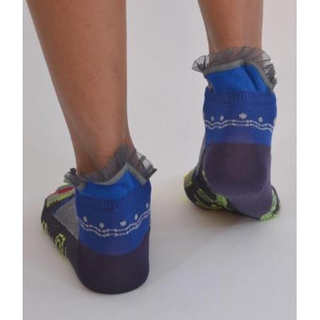 Socquettes Berthe aux grands pieds fil d'ecosse Rayures et tuiles dentelle dos