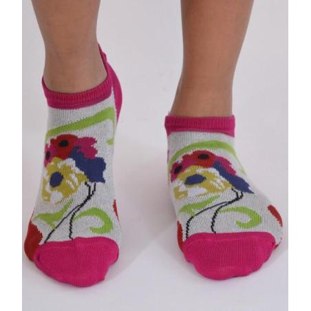 Socquettes Berthe aux grands pieds fil d'ecosse fleuries