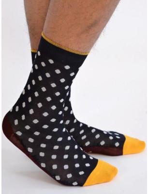 chaussettes Berthe aux grands pieds fil d'ecosse marine Pois blanc profil
