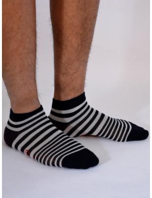 Socquette Sport Berthe aux grands pieds homme à rayures