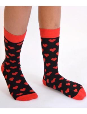 Chaussettes Macahel fm noires coeurs rouges