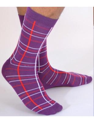 chaussettes Macahel hom Ecossaises violet