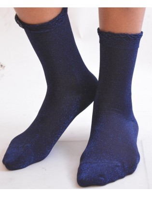 Fines chaussettes lurex bleutée