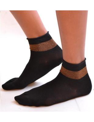 Socquette noire Revers lurex doré