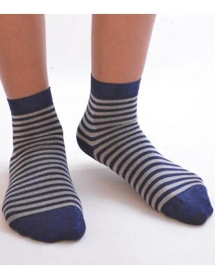 Chaussettes rayures lurex bleutée