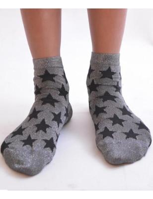 Chaussettes lurex étoiles noires
