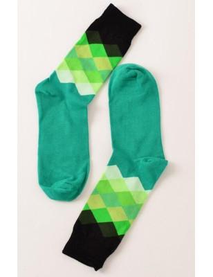 Chaussettes losanges multi vert