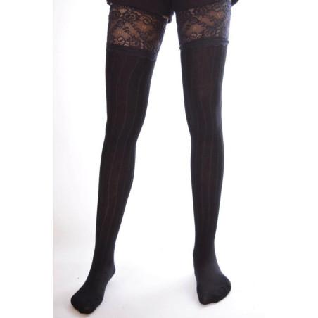 Chaussettes hautes coton et dentelle noires