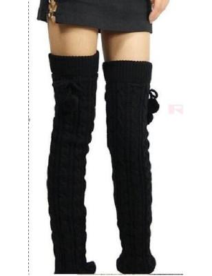 Guêtres lourde laine torsadée à pompom  noires