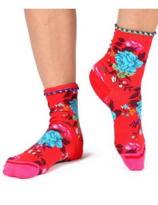 Chaussettes Fil de joie rouge bouquet Psyché
