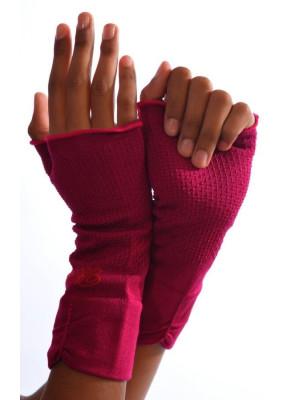 Mitaines Berthe aux grands pieds coton et soie fushia