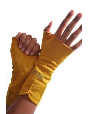 Mitaines Berthe aux grands pieds coton soie moutarde