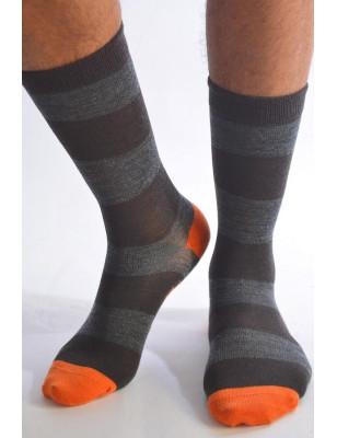 Chaussettes Laine Berthe aux grands pieds rayures