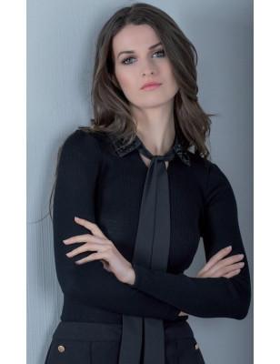 Chemise Moretta Laine et soie à cravate Strass
