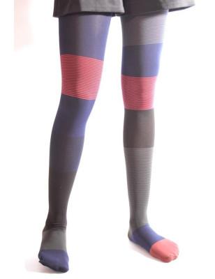 Collant Asymétrique Berthe Bleu rouge Rayures