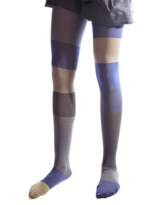 Collant Asymétrique Berthe Gris Bleu Rayures