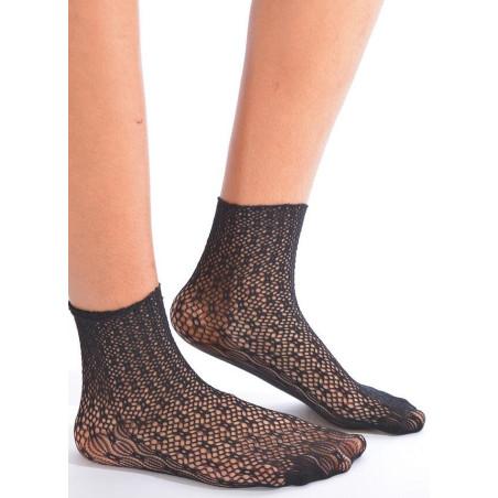 Chaussettes en dentelle géométrique Noire