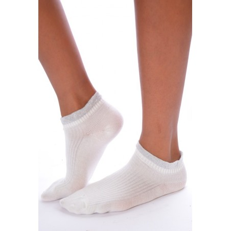 socquettes revers lurex blanches