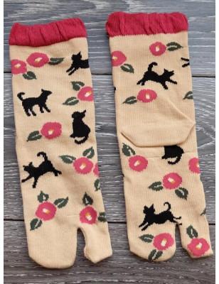 Chaussettes japonaises coton chat fleuri