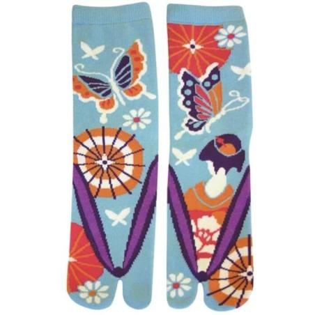 Chaussettes japonaises la fille aux papillons