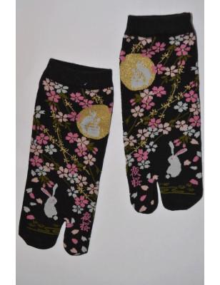 Chaussettes Japonaises Lapin fleuris