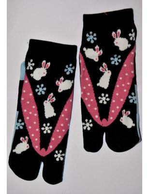 Chaussettes japonaises lapins et fleurs