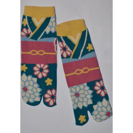 Chaussettes Tabis Japonaises Kimono fleuri