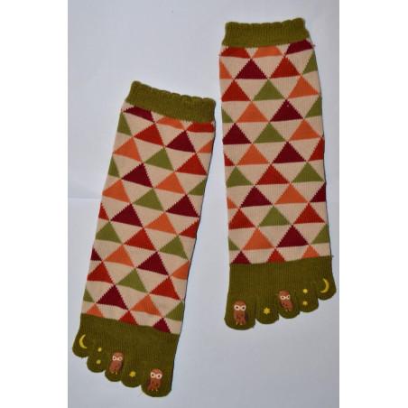 Chaussettes Japonaises 5 doigts triangles chouettes