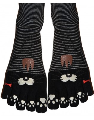 Chaussettes Japonaises 5 doigts chats Rigolos Rayures
