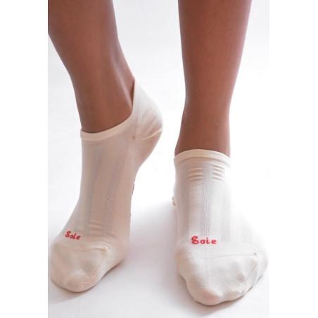 Socquette Berthe aux grands pieds en soie BLANC