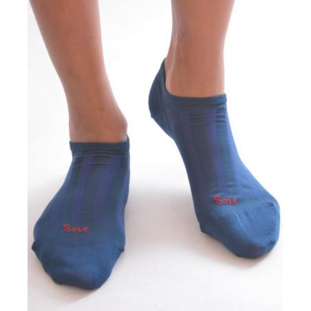 Socquette Berthe aux grands pieds en soie COBALT
