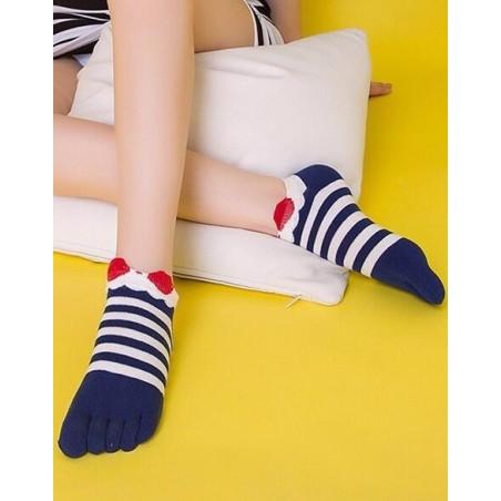Chaussettes Japonaises 5 doigts Rayures et Noeud Pap