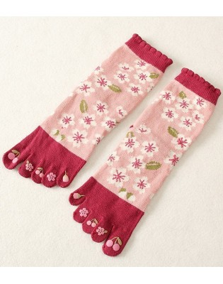 Chaussettes 5 Doigts coton roses Fleurs blanches