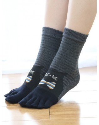 Chaussettes 5 Doigts rayures Noir Chat