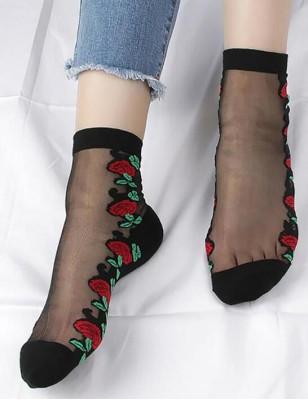 Chaussettes Tranpareantes Fleurs rouges