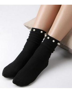 Chaussettes bord roulé à Perles