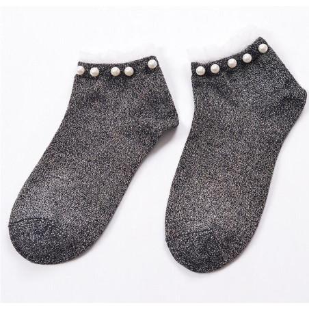 Chaussettes Perles et Lurex gris