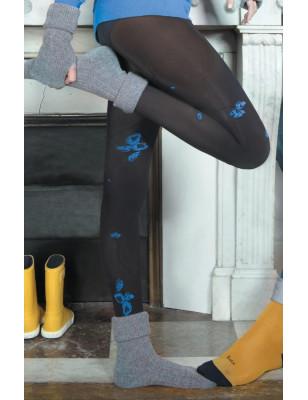 Collant Fleurs de pavot  fleur noir bleu Berthe