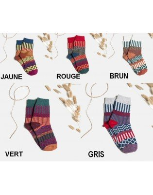 chaussettes laine patchwork pois rayures