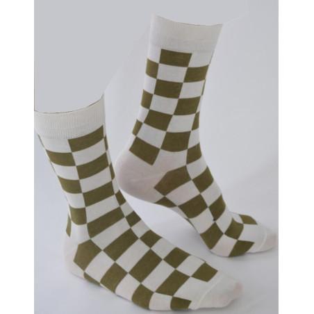 Chaussettes tendance Carreaux Bi colore